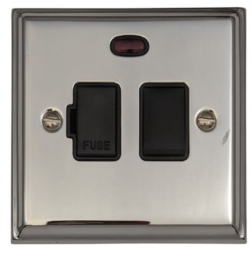 G&H DC27B Deco Plate Polished Chrome 1 Gang Fused Spur 13A Switched & Neon